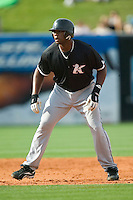 Kannapolis first baseman Brandon Allen (36) takes a lead off of second base versus Greensboro at First Horizon Park in Greensboro, NC, Sunday, May 27, 2007.  The Intimidators defeated the Grasshoppers 6-5.