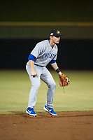 Mesa Solar Sox shortstop Nico Hoerner (17), of the Chicago Cubs organization, during an Arizona Fall League game against the Scottsdale Scorpions on October 9, 2018 at Scottsdale Stadium in Scottsdale, Arizona. The Solar Sox defeated the Scorpions 4-3. (Zachary Lucy/Four Seam Images)