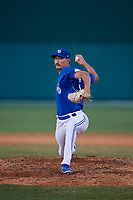 Dunedin Blue Jays relief pitcher Kyle Weatherly (35) during a Florida State League game against the Clearwater Threshers on May 11, 2019 at Jack Russell Memorial Stadium in Clearwater, Florida.  Clearwater defeated Dunedin 9-3.  (Mike Janes/Four Seam Images)