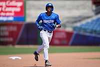 Memphis Tigers Ian Bibiloni (3) rounds the bases after hitting a home run during a game against the East Carolina Pirates on May 25, 2021 at BayCare Ballpark in Clearwater, Florida.  Memphis defeated ECU 11-1 in the opening game of the American Athletic Conference Tournament.  (Mike Janes/Four Seam Images)