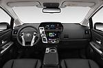 Stock photo of straight dashboard view of 2018 Toyota Grand-Prius+ business-plus 5 Door Mini Mpv Dashboard