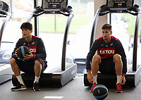 (L-R) Ki Sung-Yueng and Federico Fernandez exercise in the gym during the Swansea City Training at The Fairwood Training Ground, Swansea, Wales, UK. Wednesday 27 September 2017