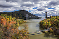 View of Popolopen Creek feeding into the Hudson River, Bear Mountain, New York, USA