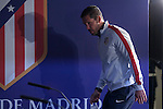 Atletico's coach Diego Simeone during a press conference the day before quarterfinal first leg Champions League soccer match against Real Madrid at Vicente Calderon stadium in Madrid, Spain. April 13, 2015. (ALTERPHOTOS/Victor Blanco)