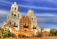 """A National Historic Landmark, San Xavier Mission was founded as a Catholic mission by Father Eusebio Kino in 1692. Construction of the current church began in 1783 and was completed in 1797. <br /> <br /> The oldest intact European structure in Arizona, the church's interior is filled with marvelous original statuary and mural paintings. It is a place where visitors can truly step back in time and enter an authentic 18th Century space.<br /> Also known as the """"White Dove of the Desert"""""""