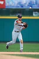 Pawtucket Red Sox second baseman Jeff Bianchi (16) throws to first during a game against the Rochester Red Wings on July 1, 2015 at Frontier Field in Rochester, New York.  Rochester defeated Pawtucket 8-4.  (Mike Janes/Four Seam Images)