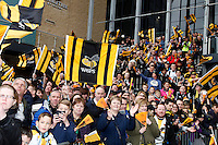 Photo: Richard Lane/Richard Lane Photography. Wasps v Exeter Chiefs.  European Rugby Champions Cup Quarter Final. 09/04/2016. Wasps supporters wait for the team to arrive.