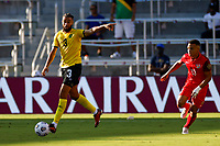 July 16th 2021; Orlando, Florida, USA; Jamaica defender Michael Hector during the Concacaf Gold Cup match between Guadeloupe and Jamaica on July 16, 2021 at Exploria Stadium in Orlando, Fl.