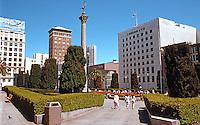 San Francisco:  Union Square in 1989; Philip Johnson's Neiman Marcus, center; I. Magnin, 1905; 1910; remodeled 1946. Dewey Memorial, 1901 (pre-fire, of course)