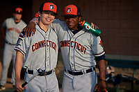 Connecticut Tigers Will Savage (left) and Randel Alcantara (right) pose for a photo before a game against the Auburn Doubledays on August 10, 2017 at Falcon Park in Auburn, New York.  Connecticut defeated Auburn 4-1.  (Mike Janes/Four Seam Images)