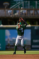 Daytona Tortugas third baseman Reyny Reyes (29) catches a popup during a game against the Bradenton Marauders on June 9, 2021 at LECOM Park in Bradenton, Florida.  (Mike Janes/Four Seam Images)