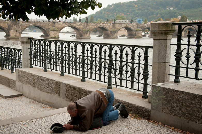 Homelessness is becoming more and more visible in Prague. The homeless inhabit the busier tourist hot spots.  Beggars kneel on the ground with their hands outstretched in front in a very religious manner.