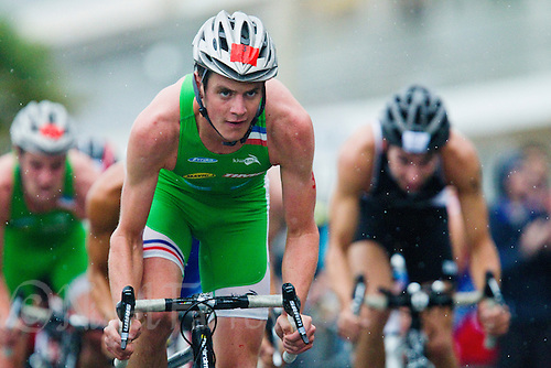 17 SEP 2011 - LA BAULE, FRA - Jonathan Brownlee (EC Sartrouville) works on the bike during the final round of the men's French Grand Prix Series at the Triathlon Audencia in La Baule, France .(PHOTO (C) NIGEL FARROW)