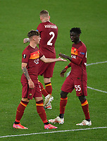Football: Uefa Europa League - semifinal 2nd leg AS Roma vs Manchester United Olympic Stadium. Rome, Italy, May 6, 2021.<br /> Roma's Nicola Zalewski (L) celebrates after scoring with his teammates  during the Europa League football match between Roma and Manchester United at Rome's Olympic stadium, Rome, on May 6, 2021.  <br /> UPDATE IMAGES PRESS/Isabella Bonotto