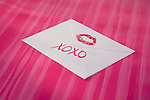 USA, Illinois, Metamora, Envelope signed with red lipstick kidd