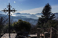 Switzerland. Canton Ticino. Bigorio. Monastery. View from the Convento Santa Maria dei Frati Cappuccini towards Lugano. The Order of Friars Minor Capuchin is an order of friars within the Catholic Church, among the chief offshoots of the Franciscans. 18.12.2018 © 2018 Didier Ruef