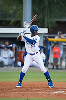 Seuly Matias (25) of the Burlington Royals at bat against the Danville Braves at Burlington Athletic Stadium on August 15, 2017 in Burlington, North Carolina.  The Royals defeated the Braves 6-2.  (Brian Westerholt/Four Seam Images)