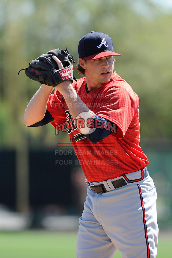 Pitcher David Carpenter (43) of the Atlanta Braves farm system in a Minor League Spring Training workout on Monday, March 16, 2015, at the ESPN Wide World of Sports Complex in Lake Buena Vista, Florida. (Tom Priddy/Four Seam Images)