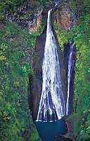 Manawaiopuna Falls (Jurassic Park Falls) in Hanapepe Valley, south Kaua`i. Owned by Robinson family.