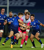 2nd October 2020; RDS Arena, Dublin, Leinster, Ireland; Guinness Pro 14 Rugby, Leinster versus Dragons; Garry Ringrose (Leinster) tackles Nick Tompkins (Dragons)