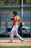 Baltimore Orioles Jaylen Ferguson (89) follows through on a swing during a minor league Spring Training game against the Minnesota Twins on March 17, 2017 at the Buck O'Neil Baseball Complex in Sarasota, Florida.  (Mike Janes/Four Seam Images)