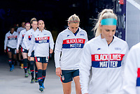 ORLANDO, FL - FEBRUARY 21: Lindsey Horan #9 of the USWNT enters the field before a game between Brazil and USWNT at Exploria Stadium on February 21, 2021 in Orlando, Florida.