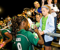 Saint Louis Athletica forward Enoila Aluko (9) after a WPS match at Anheuser Busch Soccer Park, in St. Louis, MO, July 22 2009. Athletica won the match 1-0.