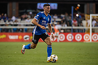 SAN JOSE, CA - SEPTEMBER 4: Cristian Espinoza #10 of the San Jose Earthquakes dribbles the ball during a game between Colorado Rapids and San Jose Earthquakes at PayPal Park on September 4, 2021 in San Jose, California.