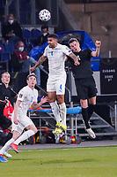 Kopfball Victor Palsson (Island Iceland) gegen Matthias Ginter (Deutschland Germany) - 25.03.2021: WM-Qualifikationsspiel Deutschland gegen Island, Schauinsland Arena Duisburg