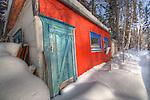 colourful shack in winter on Joliffe Island