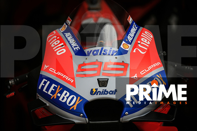 General View of Jorge Lorenzo (99) of the Ducati Team race team's motorcycle during the GoPro British MotoGP at Silverstone Circuit, Towcester, England on 26 August 2018. Photo by Chris Brown / PRiME Media Images