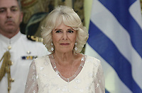Pictured: The Duchess of Cornwall during the official state dinner at the Presidential Mansion in Athens, Greece. Wednesday 09 May 2018 <br /> Re: Official visit of HRH Prnce Charles and his wife the Duchess of Cornwall to Athens, Greece.