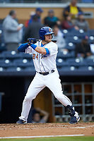Christian Arroyo (24) of the Durham Bulls at bat against the Gwinnett Braves at Durham Bulls Athletic Park on April 20, 2019 in Durham, North Carolina. The Bulls defeated the Braves 11-3 in game one of a double-header. (Brian Westerholt/Four Seam Images)