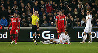 SWANSEA, WALES - MARCH 16: Match referee Roger East (2nd L) gives a free kick after Ki SUng Yueng of Swansea (C) was fouled by Emre Can of Liverpool during the Premier League match between Swansea City and Liverpool at the Liberty Stadium on March 16, 2015 in Swansea, Wales