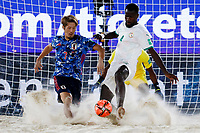 28th August 2021; Luzhniki Stadium, Moscow, Russia: FIFA World Cup Beach Football tournament; Semi final match Japan versus Senegal:  Japan's Takaaki Oba competes with Papa Ndour of Senegal, during the match between Japan and Senegal