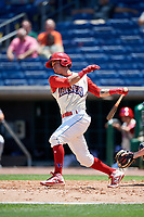 Clearwater Threshers second baseman Jose Gomez (3) follows through on a swing during a game against the Jupiter Hammerheads on April 11, 2018 at Spectrum Field in Clearwater, Florida.  Jupiter defeated Clearwater 6-4.  (Mike Janes/Four Seam Images)