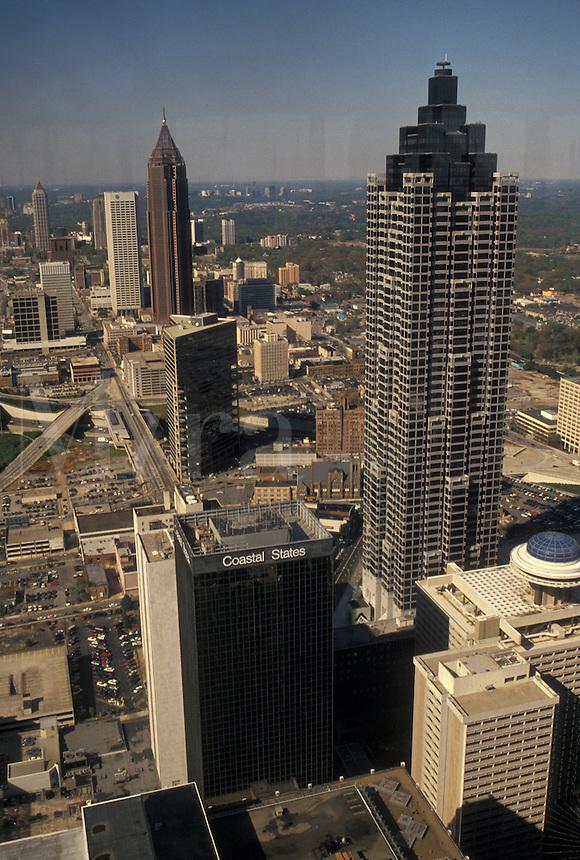 aerial view, Atlanta, GA, Georgia, Aerial view of downtown Atlanta from the Westin Peachtree Plaza Hotel.