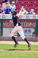 Cedar Rapids Kernels outfielder Byron Buxton #7 watches his home run during a game against the Lansing Lugnuts at Veterans Memorial Stadium on April 30, 2013 in Cedar Rapids, Iowa. (Brace Hemmelgarn/Four Seam Images)