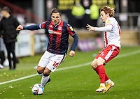 Bolton Wanderers' Antoni Sarcevic competing with Stevenage's Arthur Read (right) <br /> <br /> Photographer Andrew Kearns/CameraSport<br /> <br /> The EFL Sky Bet League Two - Stevenage v Bolton Wanderers - Saturday 21st November 2020 - Lamex Stadium - Stevenage<br /> <br /> World Copyright © 2020 CameraSport. All rights reserved. 43 Linden Ave. Countesthorpe. Leicester. England. LE8 5PG - Tel: +44 (0) 116 277 4147 - admin@camerasport.com - www.camerasport.com