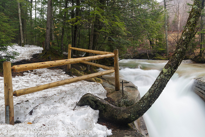 """The Baby Flume on the Pemigewasset River in Franconia Notch State Park of Lincoln, New Hampshire during the spring months. This natural feature is located a short ways down river from the """"The Basin"""" viewing area."""