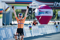Anna van der Breggen (NED/Boels-Dolmans) wins her 2nd rainbow jersey in the Road Race after a long solo, only 2 days after winning her first one in the Time Trial as well...<br /> <br /> Women's Elite Road Race from Imola to Imola (143km)<br /> <br /> 87th UCI Road World Championships 2020 - ITT (WC)<br /> <br /> ©kramon