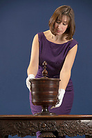 BNPS.co.uk (01202) 558833. <br /> Pic: CorinMesser/BNPS<br /> <br /> A 400-year-old 'wassailing' bowl used by cider producers in a ritual to scare away evil spirits in their apple orchards is tipped to sell for £10,000.<br /> <br /> The footed bowl would have been filled with warmed spiced wine or cider and passed around for people to drink from.