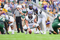 TCU offensive lineman Kyle Fuller (55) set to take a snap on the lion of scrimmage during an NCAA football game, Saturday, October 11, 2014 in Waco, Tex. Baylor defeated TCU 61-58 to remain undefeated in BIG 12 conference. (Mo Khursheed/TFV Media via AP Images)