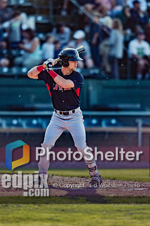 24 August 2019: Lowell Spinners outfielder Wil Dalton in action against the Vermont Lake Monsters at Centennial Field in Burlington, Vermont. The Spinners rallied in the 9th inning to overcome a 2-1 deficit and defeat the Lake Monsters 3-2 in NY Penn League play. Mandatory Credit: Ed Wolfstein Photo *** RAW (NEF) Image File Available ***
