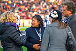 """November 23, 2019: Yale athletic director Victoria Chun is visibly upset over a """"fossil fuel"""" protest. It was at halftime of the 136th Ivy League meeting of Yale-Harvard.The """"sit-in"""" took place on most of the field with about 500 participating as the Bulldogs win 50-43 in double OT  at the Yale Bowl in New Haven, Connecticut. Dan Heary/Eclipse Sportswire/CSM"""