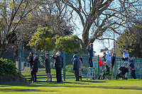 Fans watch the Horowhenua-Kapiti premier reserve club rugby union final between Levin College Old Boys and Foxton from outside the ground at Levin Domain in Levin, New Zealand on Saturday, 8 August 2020. Photo: Dave Lintott / lintottphoto.co.nz