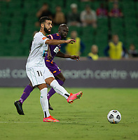 27th March 2021; HBF Park, Perth, Western Australia, Australia; A League Football, Perth Glory versus Newcastle Jets; Ramy Najjarine of the Newcastle Jets passes the ball back to his keeper