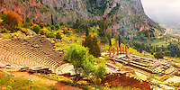 4th century BC theatre of Delphi & Temple of Apollo , archaeological site, Greece,