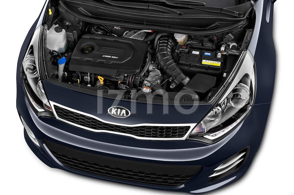 Car Stock2015 KIA Rio World Edition 5 Door Hatchback Engine high angle detail view