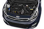 Car Stock2015 KIA Rio World Edition 5 Door Hatchback Engine high angle detail view